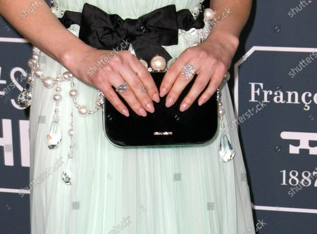Lucy Hale, bag detail, jewellery detail