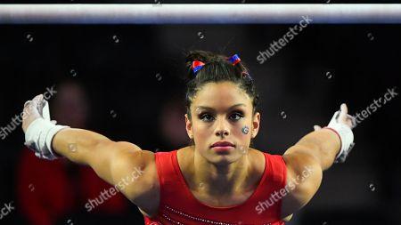 Georgia gymnast Sabrina Vega warms up before an NCAA gymnastics meet against LSU on in Athens, Ga
