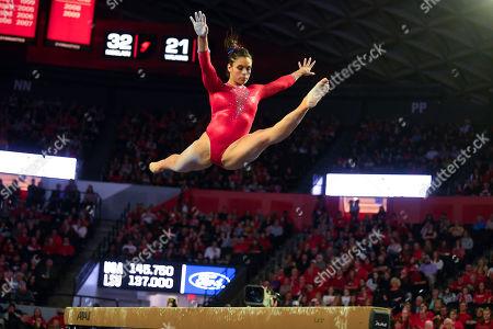 Georgia gymnast Sabrina Vega competes against LSU during an NCAA gymnastics meet on in Athens, Ga