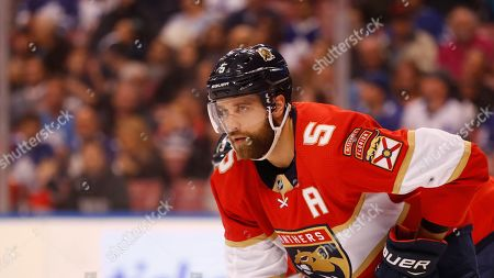 Florida Panthers defenseman Aaron Ekblad is shown during the first period of an NHL hockey game against the Toronto Maple Leafs, in Sunrise, Fla