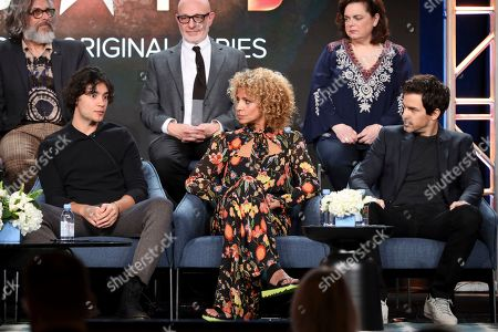 "Michael Chabon, Evan Evagora, Akiva Goldsman, Michelle Hurd, Kirsten Beyer, Santiago Cabrera. Michael Chabon, from left, Evan Evagora, Akiva Goldsman, Michelle Hurd, Kirsten Beyer and Santiago Cabrera speak at the ""Star Trek: Picard"" panel during the CBS TCA Winter 2020 Press Tour at the Langham Huntington Hotel, in Pasadena, Calif"
