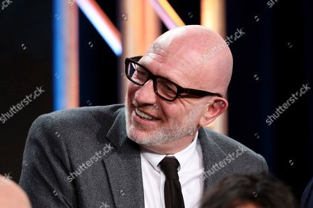 "Akiva Goldsman speaks at the ""Star Trek: Picard"" panel during the CBS TCA Winter 2020 Press Tour at the Langham Huntington Hotel, in Pasadena, Calif"