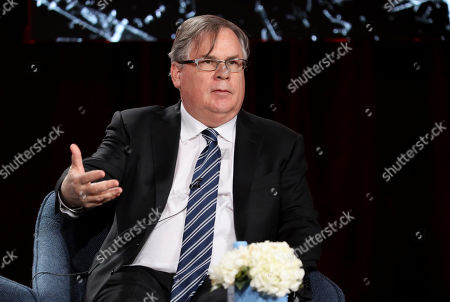 """Robert King speaks at the """"The Good Fight"""" panel during the CBS TCA Winter 2020 Press Tour at the Langham Huntington Hotel, in Pasadena, Calif"""
