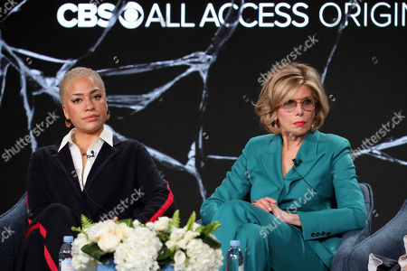 "Cush Jumbo, Christine Baranski. Cush Jumbo, left, and Christine Baranski speak at the ""The Good Fight"" panel during the CBS TCA Winter 2020 Press Tour at the Langham Huntington Hotel, in Pasadena, Calif"