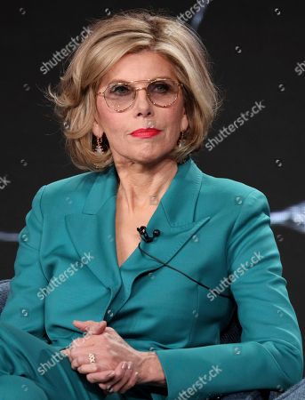 """Christine Baranski speaks at the """"The Good Fight"""" panel during the CBS TCA Winter 2020 Press Tour at the Langham Huntington Hotel, in Pasadena, Calif"""