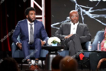 """Nyambi Nyambi, Delroy Lindo. Nyambi Nyambi, left, and Delroy Lindo speak at the """"The Good Fight"""" panel during the CBS TCA Winter 2020 Press Tour at the Langham Huntington Hotel, in Pasadena, Calif"""