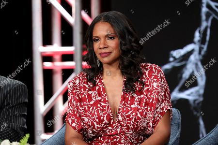 "Audra McDonald speak at the ""The Good Fight"" panel during the CBS TCA Winter 2020 Press Tour at the Langham Huntington Hotel, in Pasadena, Calif"