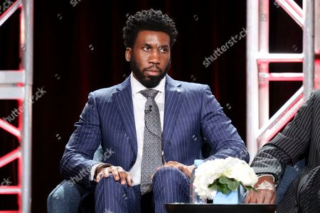 """Stock Image of Nyambi Nyambi speaks at the """"The Good Fight"""" panel during the CBS TCA Winter 2020 Press Tour at the Langham Huntington Hotel, in Pasadena, Calif"""
