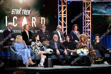 "Alison Pill, Alex Kurtzman, Isa Briones, Heather Kadin, Patrick Stewart, Michael Chabon, Evan Evagora, Akiva Goldsman, Michelle Hurd, Kirsten Beyer, Santiago Cabrera. Alison Pill,from left, Alex Kurtzman, Isa Briones, Heather Kadin, Patrick Stewart, Michael Chabon, Evan Evagora, Akiva Goldsman, Michelle Hurd, Kirsten Beyer and Santiago Cabrera speak at the ""Star Trek: Picard"" panel during the CBS TCA Winter 2020 Press Tour at the Langham Huntington Hotel, in Pasadena, Calif"