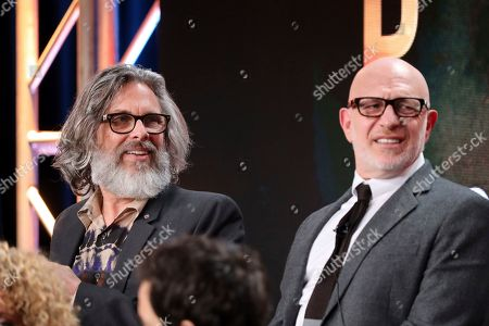 "Michael Chabon, Akiva Goldsman. Michael Chabon, left, and Akiva Goldsman speak at the ""Star Trek: Picard"" panel during the CBS TCA Winter 2020 Press Tour at the Langham Huntington Hotel, in Pasadena, Calif"