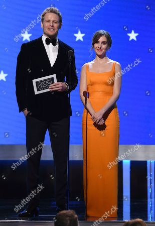 Sam Heughan, Alison Brie. Sam Heughan, left, and Alison Brie present the best acting ensemble award at the 25th annual Critics' Choice Awards, at the Barker Hangar in Santa Monica, Calif