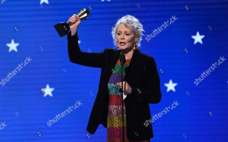 "Jean Smart accepts the award for best supporting actress in a drama series for ""Watchmen"" at the 25th annual Critics' Choice Awards, at the Barker Hangar in Santa Monica, Calif"