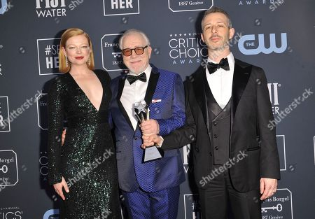 "Sarah Snook, Brian Cox, Jeremy Strong. Sarah Snook, from left, Brian Cox and Jeremy Strong pose in the press room with the award for best drama series for ""Succession"" at the 25th annual Critics' Choice Awards, at the Barker Hangar in Santa Monica, Calif"