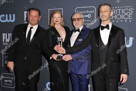 "Kevin J. Messick, Sarah Snook, Brian Cox, Jeremy Strong. Kevin J. Messick, from left, Sarah Snook, Brian Cox and Jeremy Strong pose in the press room with the award for best drama series for ""Succession"" at the 25th annual Critics' Choice Awards, at the Barker Hangar in Santa Monica, Calif"