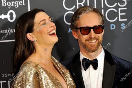 Anne Hathaway and husband Adam Shulman attends the 25th Annual Critics' Choice Awards in Santa Monica, California, USA, 12 January 2020.