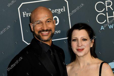 Keegan-Michael Key (L) and wife Elisa Key (R) attend the 25th Critics' Choice Awards  in Santa Monica, California, USA, 12 January 2020.