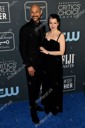 Keegan-Michael Key (L) and wife Elisa Key (R) attend the 25th Critics' Choice Awards  in Santa Monica, California, USA, 12 January 2020.