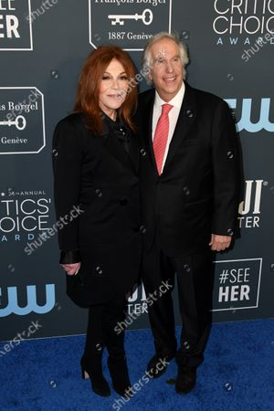 Henry Winkler (R) and wife Stacey Weitzman attend the 25th Critics' Choice Awards in Santa Monica, California, USA, 12 January 2020.