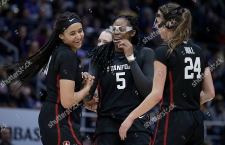 Stock Picture of Haley Jones, Francesca Belibi, Lacie Hull. From left, Stanford's Haley Jones, Francesca Belibi (5) and Lacie Hull celebrate in the second half of an NCAA college basketball game against California, in Berkeley, Calif