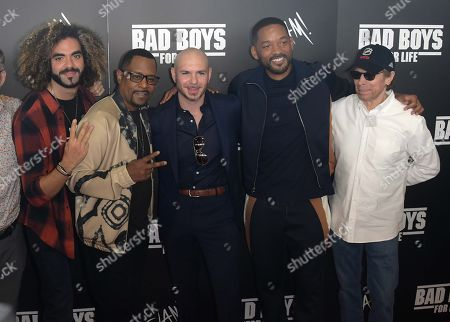 Adil El Arbi, Martin Lawrence, Pitbull, Will Smith and Jerry Bruckheimer attend the 'Bad Boys For Life' Slam Pep Rally