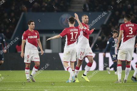 Islam Sliming of Monaco celebrates scoring a goal with Wissam Ben Yedder of Monaco, Aleksandr Gloving of Monaco, Cesc Fabregas of Monaco and Tiemoue Bakayoko of Monaco