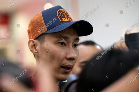 Former Malaysian badminton player, Lee Chong Wei, speaks to the media after vising current world number one player, Kento Momota, at a hospital in Putrajaya, Malaysia, 13 January 2020. According to media reports, Japanese Kento Momota suffered a broken nose and received stitches at his lips following a deadly crash between a van and a truck in Kuala Lumpur on 13 January.