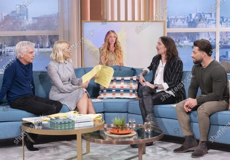 Phillip Schofield and Holly Willoughby with Justin Hawkins and Kem Cetinay