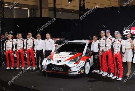 Stock Photo of Toyota Motor president Akio Toyoda (4th R) and Toyota's world rally team drivers, co-drivers and staffs pose for photo at a team presentation at the Tokyo Auto Salon 2020 in Chiba, suburban Tokyo on Friday, January 10, 2020. Some 1,000 vehicles will be exhibited at a three-day custom-car trade show.