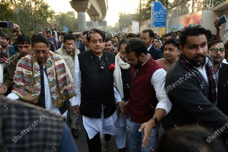 Stock Photo of Congress MP Shashi Tharoor seen during a demonstration against the CAA and the proposed National Register of Citizens