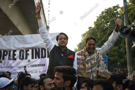 Congress MP Shashi Tharoor seen during a demonstration against the CAA and the proposed National Register of Citizens