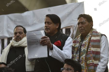 Congress MP Shashi Tharoor speaks during a demonstration against the CAA and the proposed National Register of Citizens