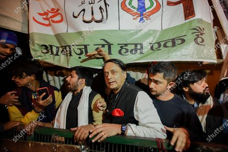 Stock Picture of Congress MP Shashi Tharoor during a demonstration against the CAA and the proposed National Register of Citizens