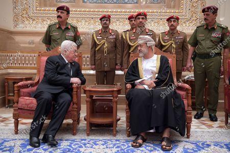 Palestinian President Mahmoud Abbas, offers condolences to the Sultan Qaboos bin Said al Said, Haitham bin Tariq Saeed, in the Gulf sultanate of Oman