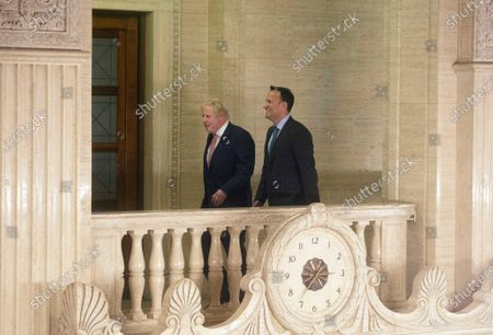 British prime minister Boris Johnson (L) and Irish Taoiseach Leo Varadkar at Stormont government buildings in Belfast, Northern Ireland, 13 January 2020, after their meeting with First Minister Foster for talks regarding the new power sharing institutions in Northern Ireland.