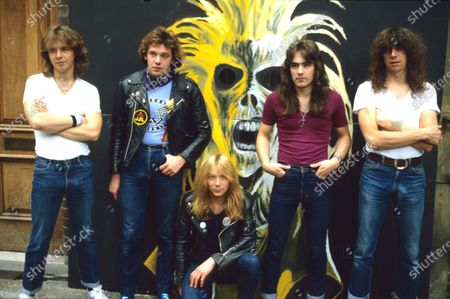 Stock Image of Iron Maiden - Clive Burr, Paul Di'Anno, Dave Murray, Steve Harris and Dennis Stratton