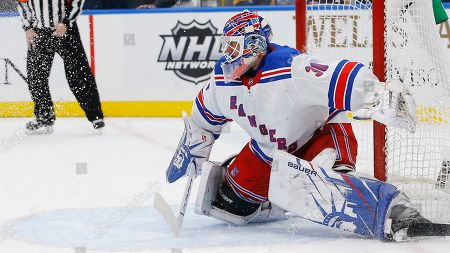 New York Rangers goaltender Henrik Lundqvist, of Sweden, in action during the second period of an NHL hockey game against the St. Louis Blues, in St. Louis
