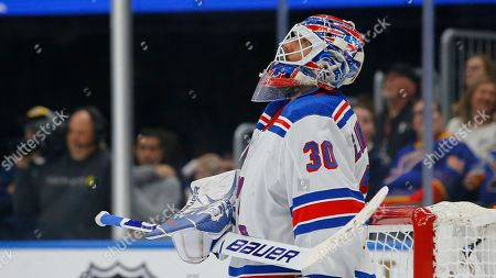 New York Rangers goaltender Henrik Lundqvist, of Sweden, is seen during the second period of an NHL hockey game against the St. Louis Blues, in St. Louis