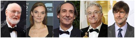 """This combination of photos shows the Oscar nominees for best original score, from left, John Williams for """"Star Wars: The Rise of Skywalker,"""" Hildur Guonadottir for """"Joker,"""" Alexandre Desplat for """"Little Women,"""" Randy Newman for """"Marriage Story,"""" and Thomas Newman for """"1917"""