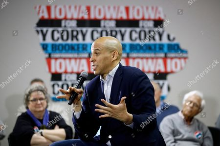 Democratic presidential candidate, Sen. Cory Booker, D-N.J., speaks during a campaign event in North Liberty, Iowa. Booker has dropped out of the presidential race after failing to qualify for the December primary debate