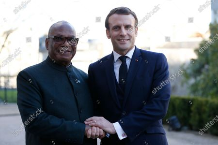 Stock Picture of French President Emmanuel Macron welcomes Mali's President Ibrahim Boubacar Keita to attend a summit on the situation in the Sahel region in the southern French city of Pau, France, 13 January 2020.