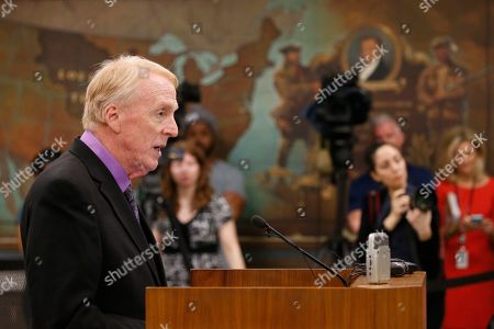 State Sen. George Barker, D-Alexandria, speaks about his red flag bill during the meeting of the Senate Judiciary committee at the Capitol in Richmond, Va