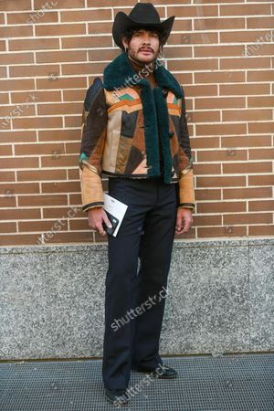 Editorial image of Street Style, Autumn Winter 2020, Milan Fashion Week Men's, Italy - 13 Jan 2020