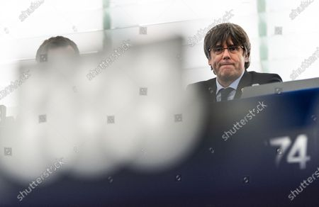 Former member of the Catalan government Carles Puigdemont waits for their  first plenary session as member of the European Parliament in Strasbourg, France, 13 January 2020.