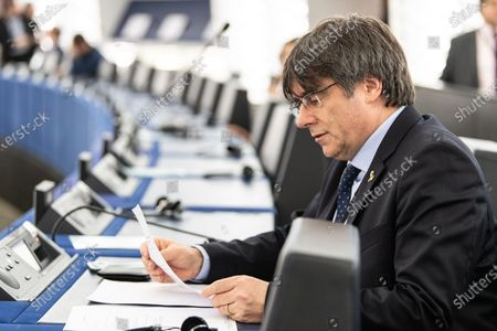 Former member of the Catalan government Carles Puigdemont waits for his first plenary session as member of the European Parliament in Strasbourg, France, 13 January 2020.