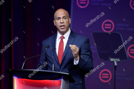 Show Democratic presidential candidate Sen. Cory Booker, D-N.J., speaking during the National Urban League Conference in Indianapolis. Booker dropped out of the 2020 Presidential race on