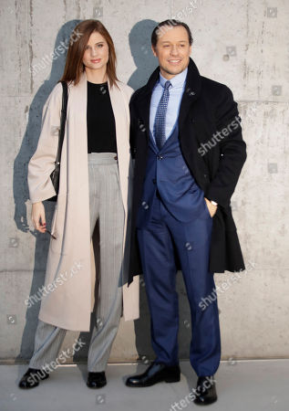 Italian actor Stefano Accorsi is flanked by his wife and model Bianca Vitali arrive for the Armani men's Fall-Winter 2020/21 collection, that was presented in Milan, Italy
