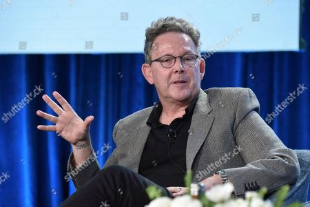 """John Logan participates in The Showtime """"Penny Dreadful: City of Angels"""" panel during the Winter 2020 Television Critics Association Press Tour, in Pasadena, Calif"""
