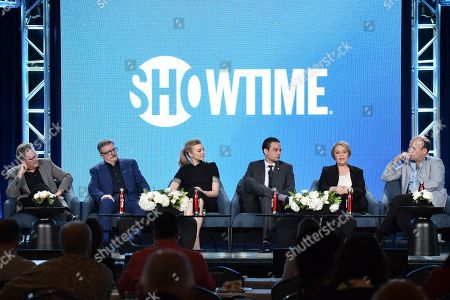 "Stock Image of John Logan, Nathan Lane, Natalie Dormer, Daniel Zovatto, Rory Kinnear, Adriana Barraza. John Logan, from left, Nathan Lane, Natalie Dormer, Daniel Zovatto, Rory Kinnear and Adriana Barraza participate in The Showtime ""Penny Dreadful: City of Angels"" panel during the Winter 2020 Television Critics Association Press Tour, in Pasadena, Calif"