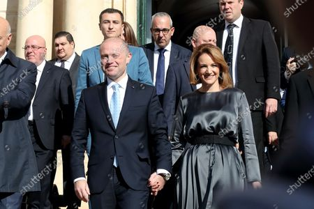 Stock Photo of Malta's Outgoing Malta Prime Minister Joseph Muscat and his wife Michelle leave the Auberge De Castille to pave way for the newly elected Partit Laburista (Labour Party) leader and new Prime Minister Robert Abela (not in picture) in Valletta, Malta, 13 January 2020.