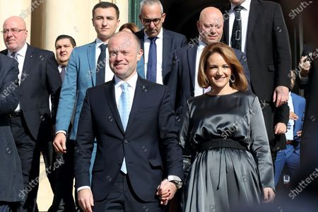 Malta's Outgoing Malta Prime Minister Joseph Muscat and his wife Michelle leave the Auberge De Castille to pave way for the newly elected Partit Laburista (Labour Party) leader and new Prime Minister Robert Abela (not in picture) in Valletta, Malta, 13 January 2020.